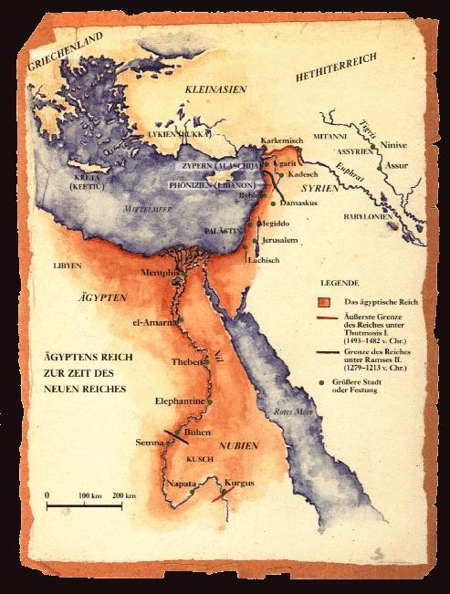 Karte Der Ausdehnung Des Agyptischen Reiches Im Neuen Reich